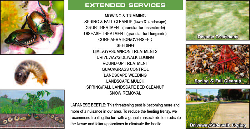 Lawn Green additional services include spring & fall cleanup, quack grass control, driveway & sidewalk edging, landscape mulch/rock, more.